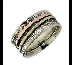 Bandringe - Floral zwei Ton Vintage-Stil Spinner Ring - ein Designerstück von artisanfeel bei DaWanda