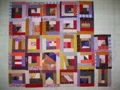 """CRUMB CHAOS -- It's a method, not a pattern. Patti of MyCurrentObsession takes all her """"crumbs"""" and scraps of fabric, and some strips, and does an assembly line of [sew - press - cut] repeated til she can cut squared-up blocks. Very fast and can be surprisingly handsome."""