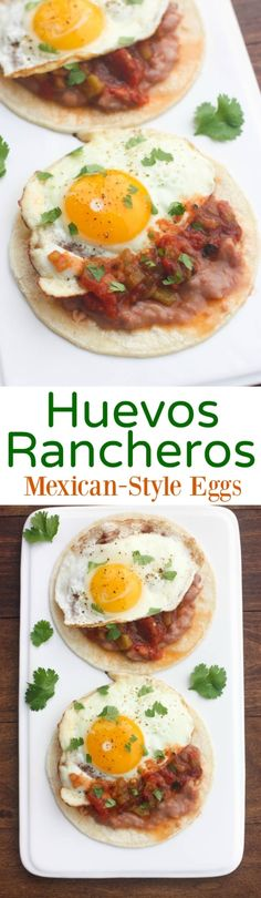 Huevos Rancheros - Mexican style eggs with corn tortillas, refried beans and salsa. Delicious healthy breakfast that the whole family loves!   Tastes Better From Scratch