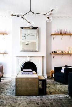 blush and black details in modern white living room. / sfgirlbybay