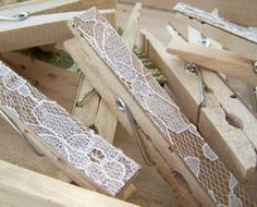 pins decorated with lace, use with string for hanging pictures