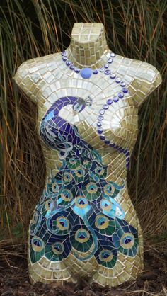 Mosaic peacock in glass on bust - by Sandra Holmes NZ