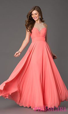 Long Classic Chiffon Prom Dress at PromGirl.com