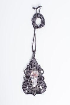 Macrame jasper pendant macrame necklace gemstone by Amonithe