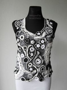 Black and White Crochet Sweater Freeform Crochet  by MARTINELI, $135.00