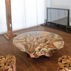 Trend Couchtisch Teak Wurzelholz mit Glasplatte Cm Wohnzimmertisch Wurzel Tisch