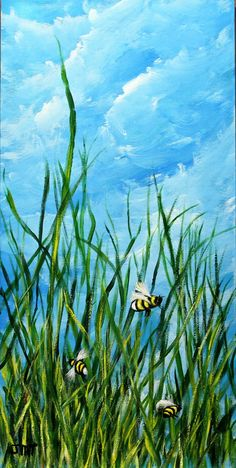 """Landscape Bee Painting, 10"""" x 20"""" gallery canvas, Bee painting, original acrylic painting, unframed canvas art, office art, wall decor by ThisArtToBeYours on Etsy"""