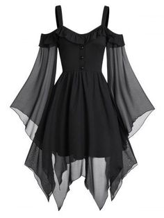 They are beautiful, lovable and affordable. You deserve it! Butterfly Sleeve Cold Shoulder Lace-up Handkerchief Gothic dress-Gothic dress victorian,Gothic dress elegant,Gothic dress casual,Gothic dres Elegant Dresses, Pretty Dresses, Beautiful Dresses, Awesome Dresses, Vintage Dresses, Goth Dress, Lolita Dress, Classy Dress, Dress Casual