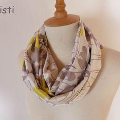 Grand foulard femme/ snood femme /écharpe infinity couleur jaune, gris ,blanc