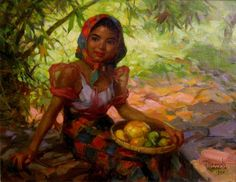 Fernando Amorsolo Fruit Gatherer, oil on board, private collection. Amorsolo is one of the most important artists in the history of painting in the Philippines. He was a portraitist and painter of rural Philippine landscapes. He is popularly. Arte Filipino, Filipino Culture, Artist Painting, Figure Painting, Munier, Philippine Art, Most Famous Artists, Famous Artists Paintings, Modern Paintings