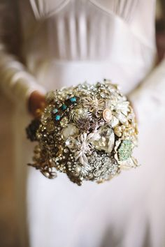 Beautiful brooch bouquet.  From 'Miss Vintage Wedding Affair ~ 20 October 2013, Battersea Arts Centre, London'.  Photography http://www.louisebjorling.com/ + http://cecelinaphotography.com/