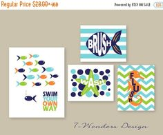 ON SALE Kids Bathroom Decor Art Prints Girls by 7WondersDesign