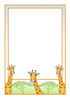 """Drop in Day"" welcome letter-place on desk with animal crackers!  Giraffe A4 page borders (SB9222) - SparkleBox"