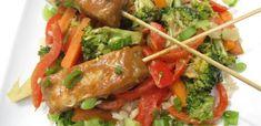 Recipe | Peanut Sauce Stirfry & Tempeh Skewers | Dawn Jackson Blatner, Registered Dietitian