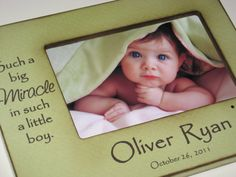 Personalized Baby Boy 4x6 Photo Frame- Name and Birth Date - Beautiful Baby Shower Gift on Etsy, $64.36