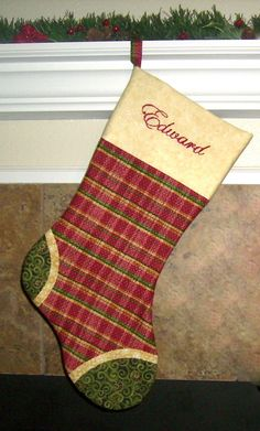 red plaid personalized christmas stocking