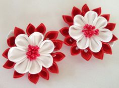 Girls set of two Kanzashi Red/White Hair Clips by CuteseyTootsie