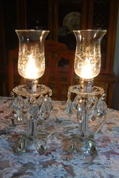 """Vintage crystal glass prisms lamps 2.5"""" teardrops etched chimneys electric candle holders PAIR on Etsy, $179.99"""