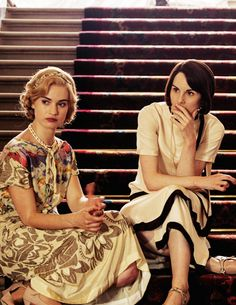 Michelle Dockery and Lily James behind the scenes of Downton Abbey's Christmas Special 2014