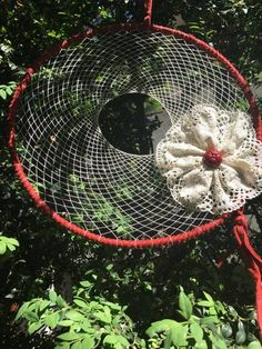 dreamcatcher, macrame lace flower, clay bead
