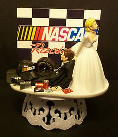 Race Car Wedding Cake Toppers   Pin Nascar Wedding Cake Graphics     NASCAR RACING MECHANIC CAR TIRE BRIDE GROOM WEDDING CAKE TOPPER SPORTS  cakepins com