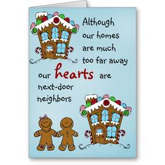 Gingerbread neighbours Christmas card for loved ones that live far away