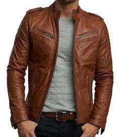 Handmade Men brown biker leather Jacket Men