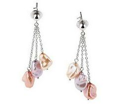 Honora Sterling Cultured Pearl 7.0Mm Keshi Triple Drop Earrings - Click for More...