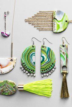 Clay jewelry www.pandurohobby.com Clay by Panduro #decoration #DIY #necklace #decorate #neon Diy Necklace, Tassel Earrings, Drop Earrings, Jewellery Diy, Clay Jewelry, Diy Clay, Clay Crafts, Tassels, Polymer Clay