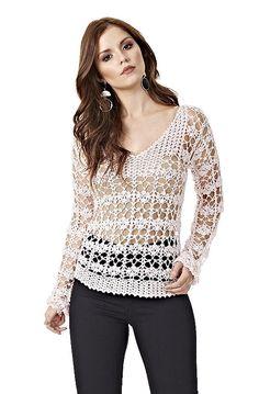 """Bom dia!   Na receita de hoje, separamos uma blusa em crochê com decote """"V"""" e manga longa. Ela foi produzida com a linha Susi - fio em v..."""