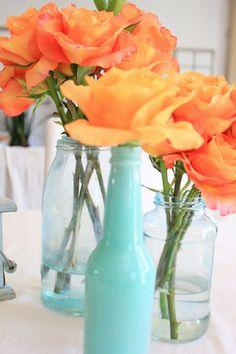 aqua and orange wedding style flowers brides of adelaide magazine