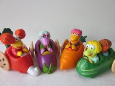 I remember these Fraggle Rock Happy Meal toys from McDonalds in the mid 80's.  The only one I recall owning the eggplant, 2nd from the left.