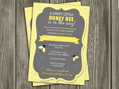 Printable Honey Bee Baby Shower Invitation | Bumble Bee | Neutral Baby Shower | FREE thank you card included | Party Package Decorations Available | www.dazzleexpressions.com