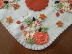 Primitive Square Penny Rug Autumn Pumpkins Candle Mat w/free shipping!