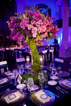 Wedding table centerpieces purple sophisticated bride New Ideas Tall Wedding Centerpieces, Flower Centerpieces, Wedding Decorations, Centerpiece Ideas, Tall Centerpiece, Centrepieces, Purple Wedding, Wedding Colors, Wedding Flowers