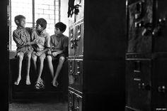 Children in a shelter in Delhi: photograph by Vicky Roy 'India's Street Children'. Vicky Roy used to be a rag-picker on the streets, but after being given a camera began to take photographs of children in a similar situation to himself.