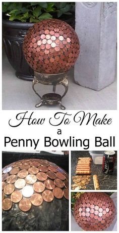 How to make a penny bowling ball, fun and unique yard art for your garden. And some people say the copper pennies repel slugs! How to make a penny bowling ball, fun and unique yard art for your garden. And some people say the copper pennies repel slugs! Bowling Ball Crafts, Bowling Ball Garden, Bowling Ball Art, Garden Balls, Rocks Garden, Mosaic Bowling Ball, Diy Garden Projects, Garden Crafts, Diy Garden Decor