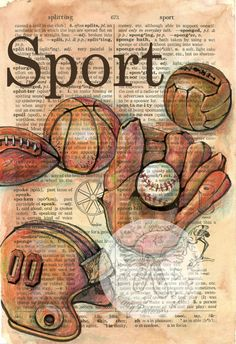 PRINT: Vintage Sports Equipment Mixed Media Drawing on Distressed, Dictionary Page. $ 35.00