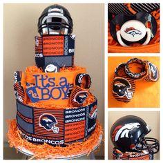 Denver Broncos 3 tier diaper cake