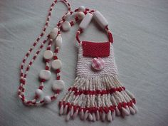 crochet and seed beaded amulet bag for sale on ebay for 11.95
