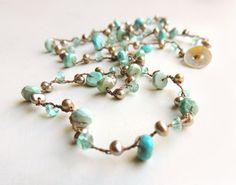Montego Wrap Bracelet/Necklace with Sleeping Beauty Turquoise Apatite & Pearl Handmade Silk Cord Beach Fashion