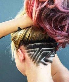 Resultado de imagen para mandalas cabello perro Undercut Hairstyles Women, Undercut Women, Unique Hairstyles, Asian Hairstyles, Shaved Undercut, Shaved Nape, Shaved Head, Shaved Pixie Cut, Pixie Haircut