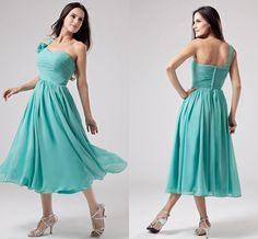 Green Chiffon One-shoulder Prom Dress,flower Applique Evening Dress ,Sleeveless Gown Dress on Luulla