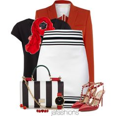 Black & White & Red, Oh My! by jafashions on Polyvore featuring moda, Pieces, Antonio Berardi, Balmain, Valentino, Dolce&Gabbana, Larsson & Jennings, Liz Claiborne, First People First and Brooks Brothers