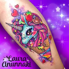 "2,164 Likes, 24 Comments - ✨Laura Anunnaki✨ (@anunnakitattoo) on Instagram: ""Sweet as #magical and #glittery unicorn ice cream for Esme. Thank you very much for always ask…"""