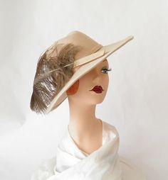 8a0405d74ce 1960s fedora hat large feather Lancaster tilt by TheVintageHatShop