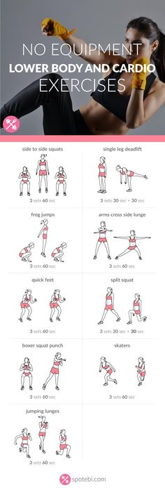 Work your legs, hips and glutes with these lower body and cardio exercises. A 30 minute workout, perfect for burning a ton of calories in a short period of time. http://www.spotebi.com/workout-routines/no-equipment-lower-body-and-cardio-exercises/ #cardioweightlossfatburning #cardiacexercise