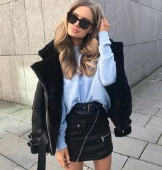 accessories street style of Black Hair Black Fur Jacket + Sweater Mode Outfits, Winter Outfits, Casual Outfits, Fashion Outfits, Office Outfits, Winter Clothes, Fashion Clothes, Office Attire, Winter Dresses