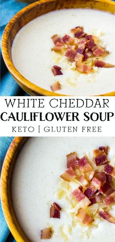 White Cheddar Cauliflower soup is velvety and delicious on it's own, or perfect alongside salads and sandwiches. There are only 8 net carbs per serving! Low Carb Soup Recipes, Best Soup Recipes, Gluten Free Recipes For Dinner, Low Carb Desserts, Lunch Recipes, Keto Recipes, Dinner Recipes, Keto Diet Breakfast, Breakfast Recipes