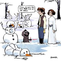 Leia, Han and Kylo (Calvin and Hobbes and Star Wars mashup) - by Brian Kesinger - #1